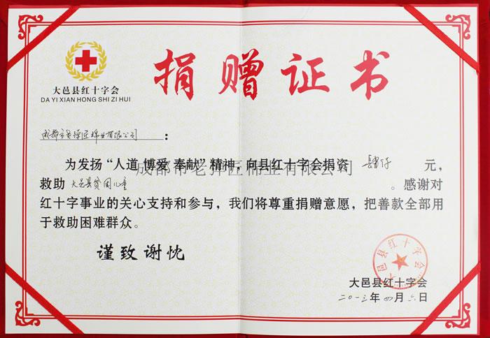 红十字会捐赠证书